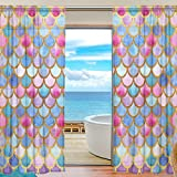 SEULIFE Window Sheer Curtain, Sea Ocean Animal Mermaid Fish Scales Voile Curtain Drapes for Door Kitchen Living Room Bedroom 55x84 inches 2 Panels