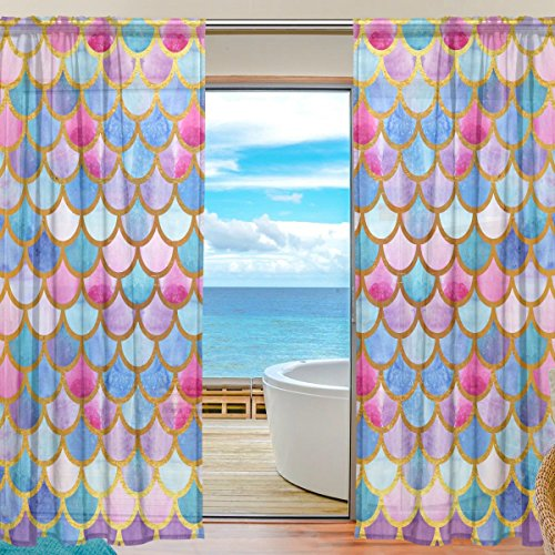 SEULIFE Window Sheer Curtain, Sea Ocean Animal Mermaid Fish Scales Voile Curtain Drapes for Door Kitchen Living Room Bedroom 55x78 inches 2 Panels by SEULIFE