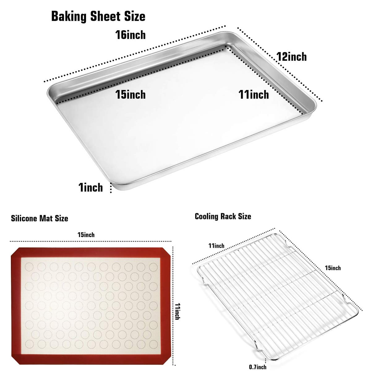 Footek Baking Sheets, Rack Set & Silicone Baking Mats, Stainless Steel Baking Pans Rectangle 16'' L×12'' W×1'' H, Non Toxic & Healthy, Mirror Polish & Easy Clean, Pack of 6 (2 Sheets + 2 Racks + 2 Mats) by Footek (Image #4)