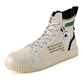 YAN Zapatos de Hombre Zapatos de Cubierta, con Cordones Planos Casuales Botines de tacón Alto