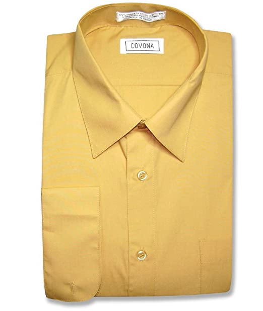 Covona Men's Solid Gold Color Dress Shirt w/ Convertible Cuffs sz ...