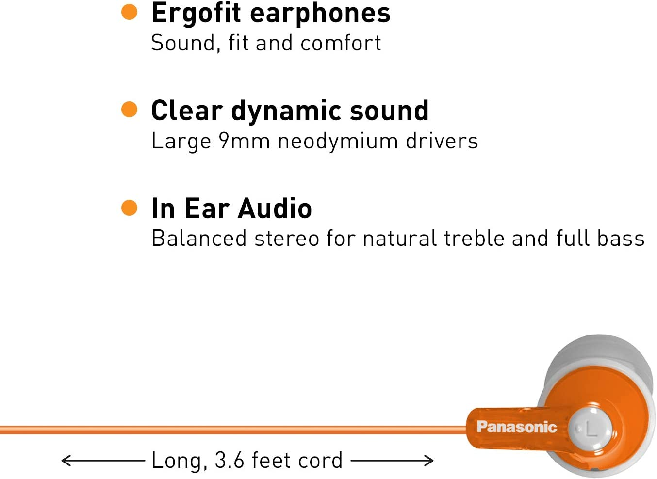 Panasonic ErgoFit In-Ear Earbud Headphones RP-HJE120-D (Orange) Dynamic Crystal Clear Sound, Ergonomic Comfort-Fit