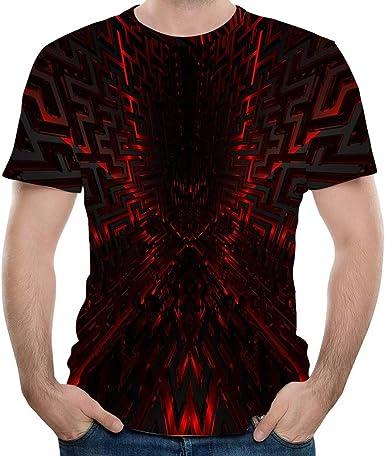 Camisa de Hombre de Verano, Slim Fit, Moda Casual, Estampada en 3D, Cuello Redondo Negro XL: Amazon.es: Ropa y accesorios