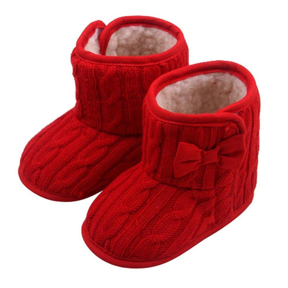 TOOGOO Chaussures Pour Bebe decorees de Noeud de Papillon des Semelles Souples Chaussures D'Hiver Chaud Bottes de Chaussures (Rouge, 13cm)