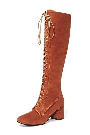 09a000849fbb08 BaZhaHei Damen Schuhe Mode Slim Lace-up Hohe Stiefel Overknee Stiefel High  Heels Herbst und