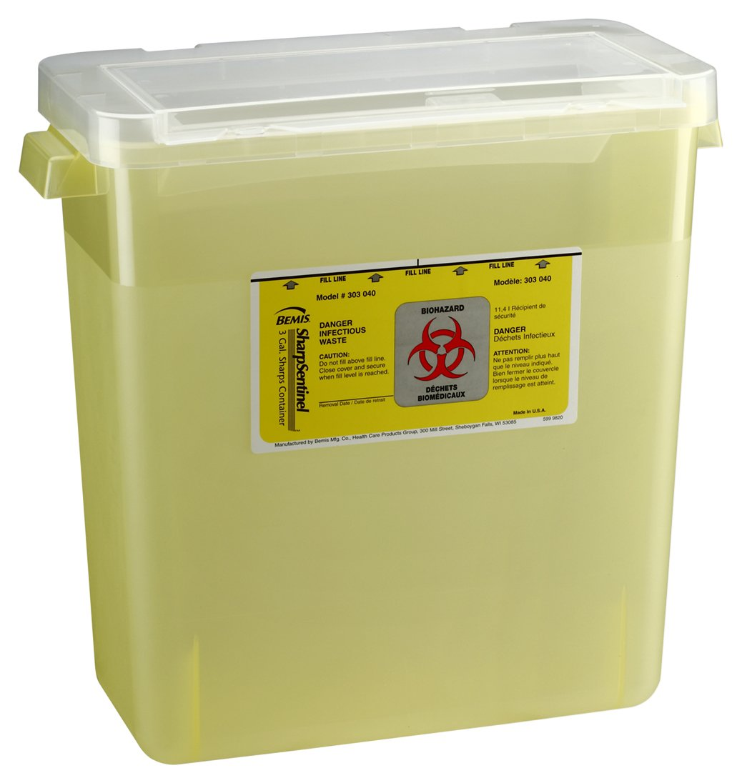 Bemis Healthcare 303040-12 3 gal Sharps Container, Translucent Yellow (Pack of 12)