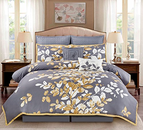 Wonder Home 8Piece Penelope Floral Comforter Set, Gray/Gold/White, - White Macy
