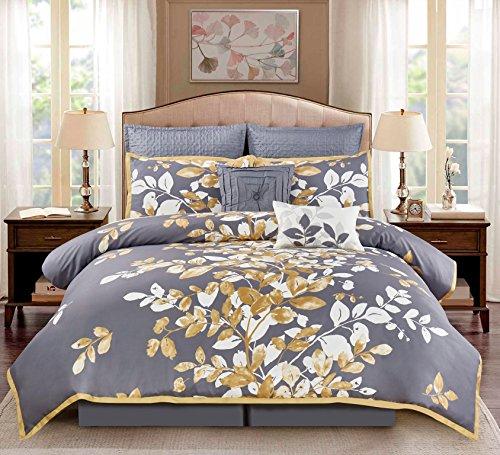 Wonder Home 8Piece Penelope Floral Comforter Set, Gray/Gold/White, - Macy White