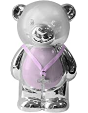 Pink Teddy Money Box - Silver Plated