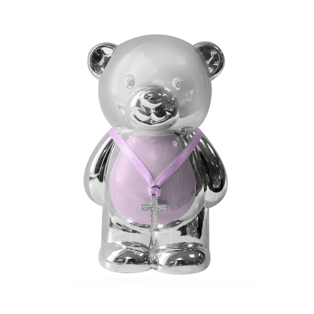 Christening Gift Silver Plated Pink Enamelled Teddy Money Box BabyCentre LP15222