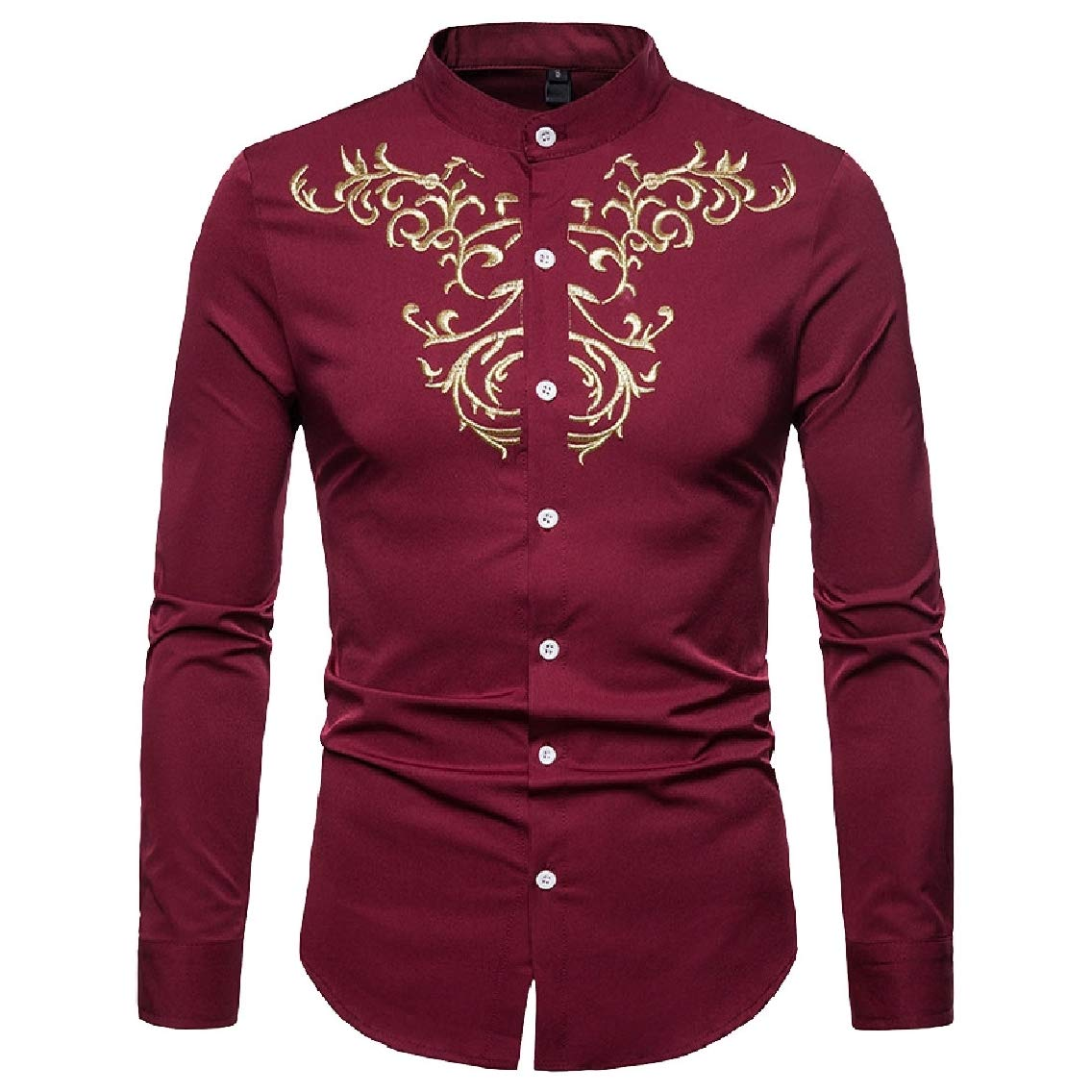 Coolred-Men Business Button Plus Size Loose Stand Up Collar Western Shirt