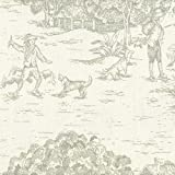 Tailored 22'' French Country Seafoam Green Toile Queen Bedskirt Cotton