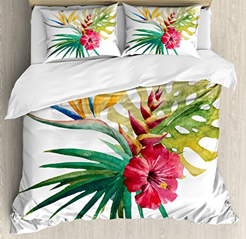 Ambesonne Floral Duvet Cover Set Queen Size, Wild Tropical Orchid Flower with Large Leaves Exotic Tropic Petals Picture, Decorative 3 Piece Bedding Set with 2 Pillow Shams, Fuchsia Forest Green