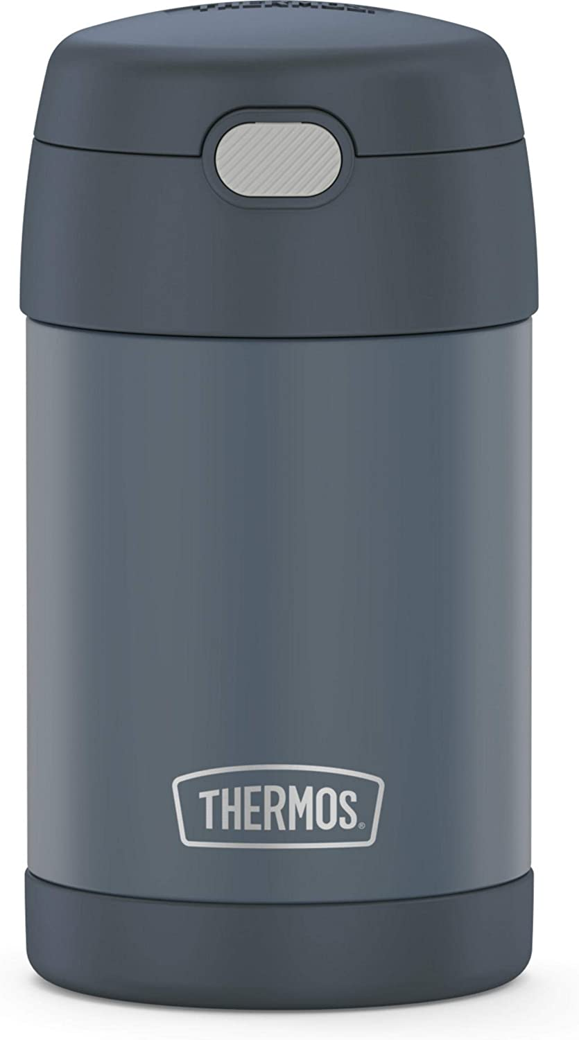 THERMOS FUNTAINER 16 Ounce Stainless Steel Vacuum Insulated Food Jar with Folding Spoon, Slate Stone