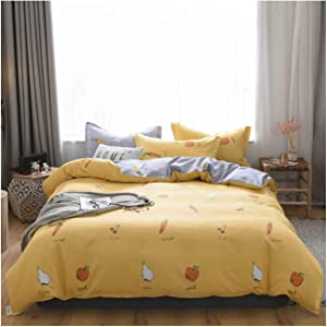 Gnzoe Duvet Cover and Sheet Set Ultra Soft Duvet Cover 4 Piece Set Twin Carrot Pear Apple, Yellow, Style7, (1.8m) Duvet Cover: 72''x88''; Sheets: 92''x92''
