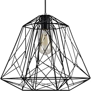 Pendant Light, Sanguinesunny Ceiling Lamp LOFT Industrial Simple Geometric Linear Iron 15.7' Large Cage Chandelier Hanging Fixture for Bar Cafe Restaurant,110V