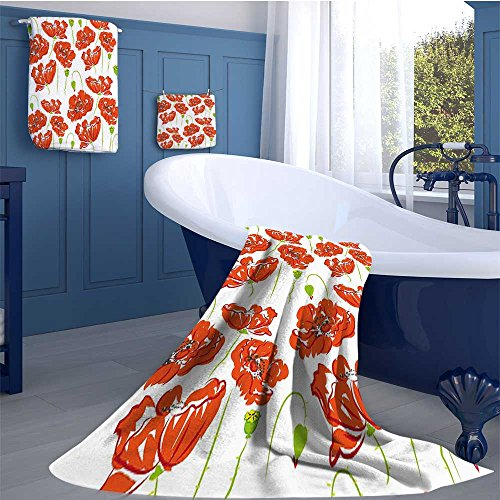 Anemone Flower Premium Cotton Extra Large Bath Towel Set Doodle Style Poppy Anemone Field in Full Blossom May Flowers Bathroom hand towels set Scarlet Lime Green (Poppy Anemone Mix)