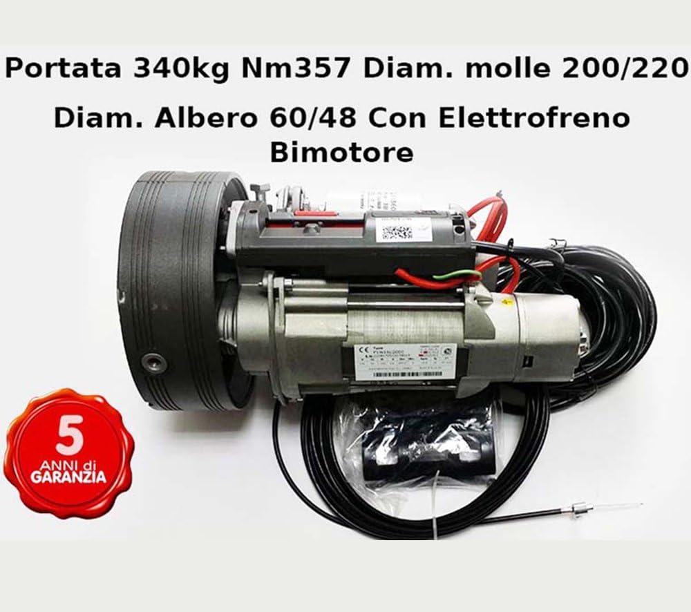 MOTORE SERRANDA AVVOLGIBILE PORTATA 340 KG BIMOTORE 200//60 CON ELETTROFRENO