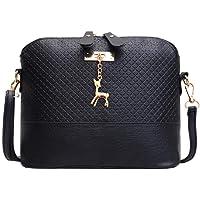 Foulon Women Fashion Print Handbag with Deer Metal Zip Shoulder Bag