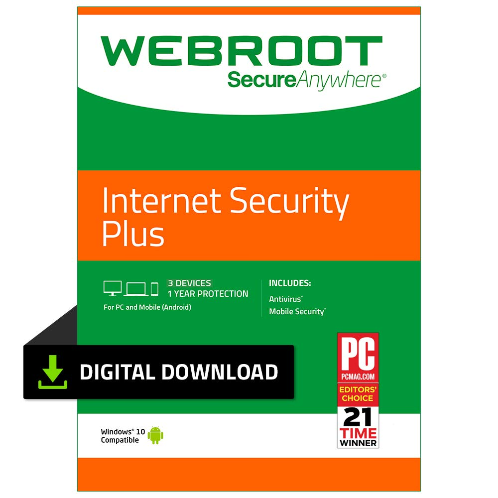 Webroot Internet Security Plus with Antivirus Protection - 2019 Software  | 3 Device | 1 Year Subscription | PC Download by Webroot