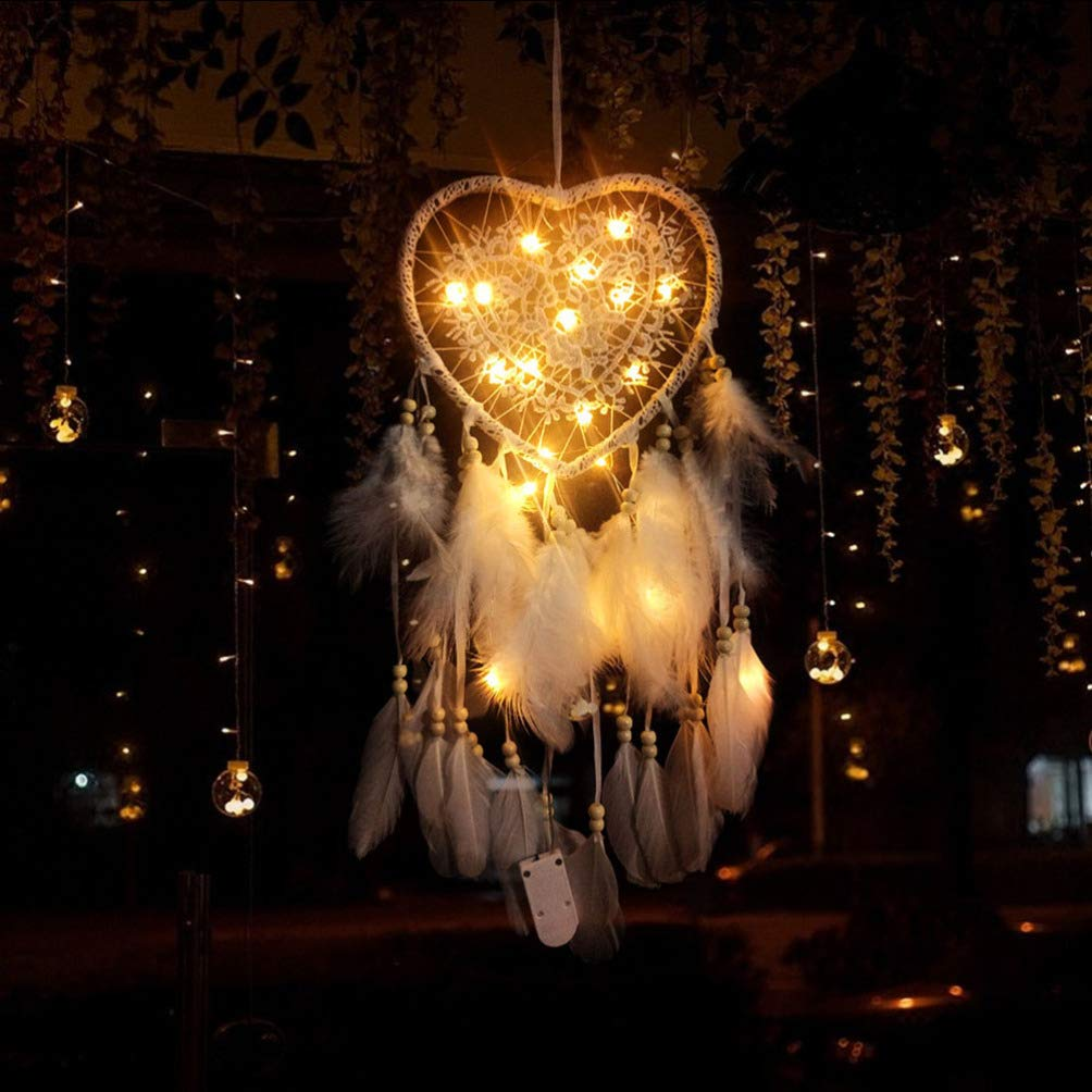 LIOOBO Dream Catcher LED With Feathers Heart Shaped Light Wind Chime Pendant for Bedroom Wall Hanging Decorations Ornaments Pink
