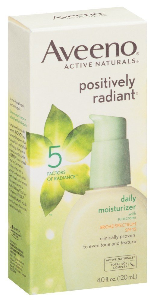 Aveeno Positively Radiant Daily Moisturizer 4 Ounce Spf15 (118ml) (2 Pack)