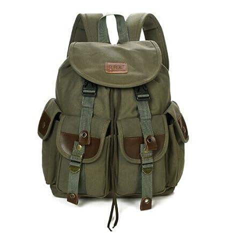 bc9db5278c Man s Canvas Backpack Mens Travel Rucksack Military Satchel Teenager Boy  Girl Vintage School Bag Bookbag Large