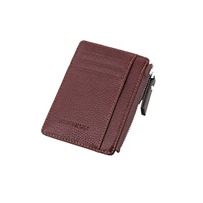815a5b5db2 Eleusine Wallet Mini Leather Card Holders Slots Purse Small Men Wallet  Women Zipper Coin Pocket Ultra Thin Wallet (Brown)  Amazon.co.uk  Shoes    Bags
