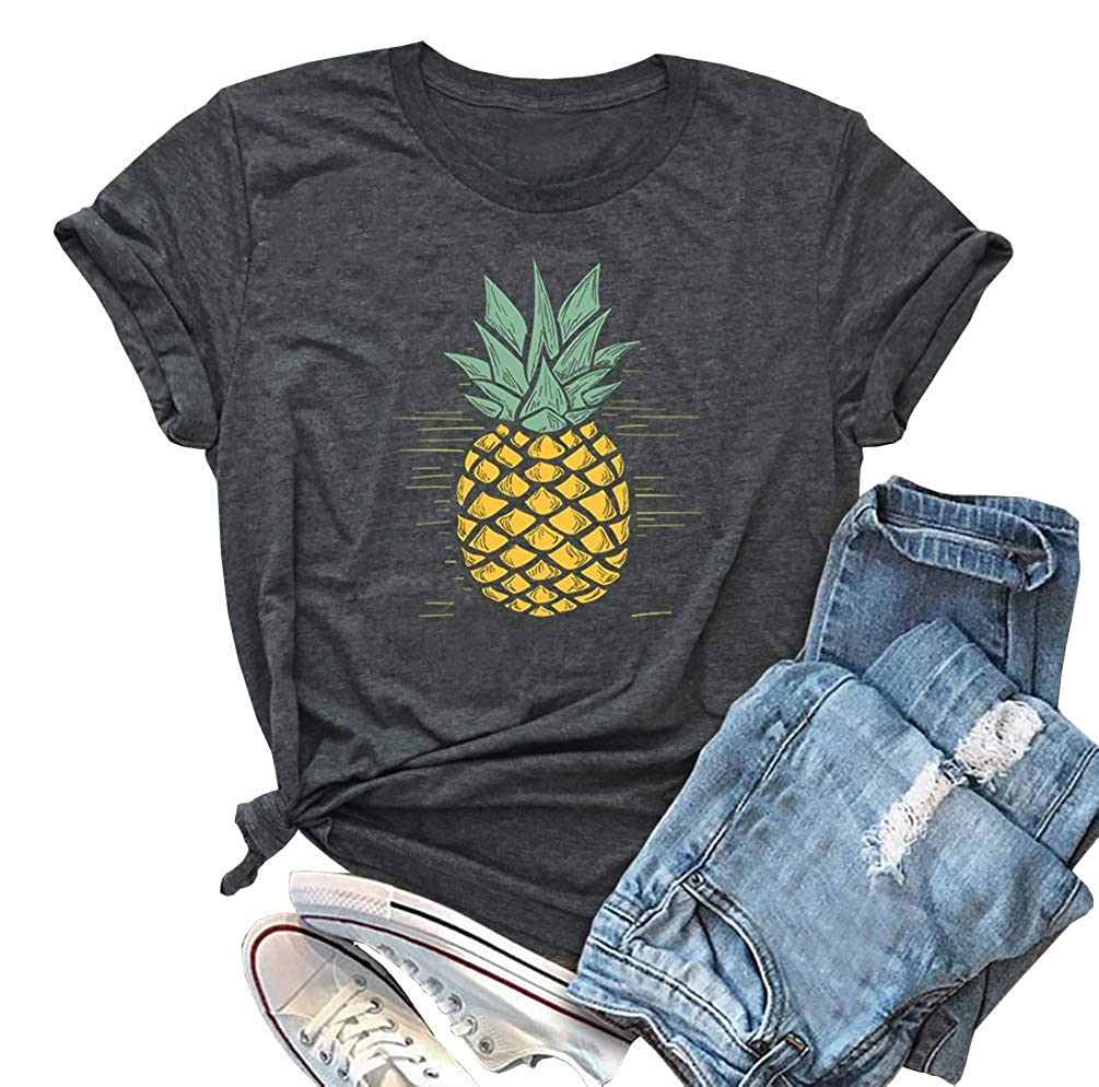 af776f7e2c24 ALLTB Pineapple Print Women T Shirt Funny Graphics Tees Ladies Summer  Cotton Tops Clothing for Teen Girls Gift at Amazon Women s Clothing store