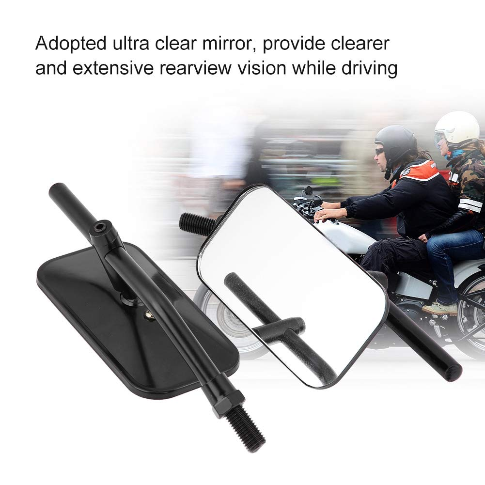 Qii lu Metal+Plastic+Glass Universal 1 Pair of Rectangle Round Motorcycle Side Mirror Rear View Mirror for Harley Motorcycle Rectangle -Black