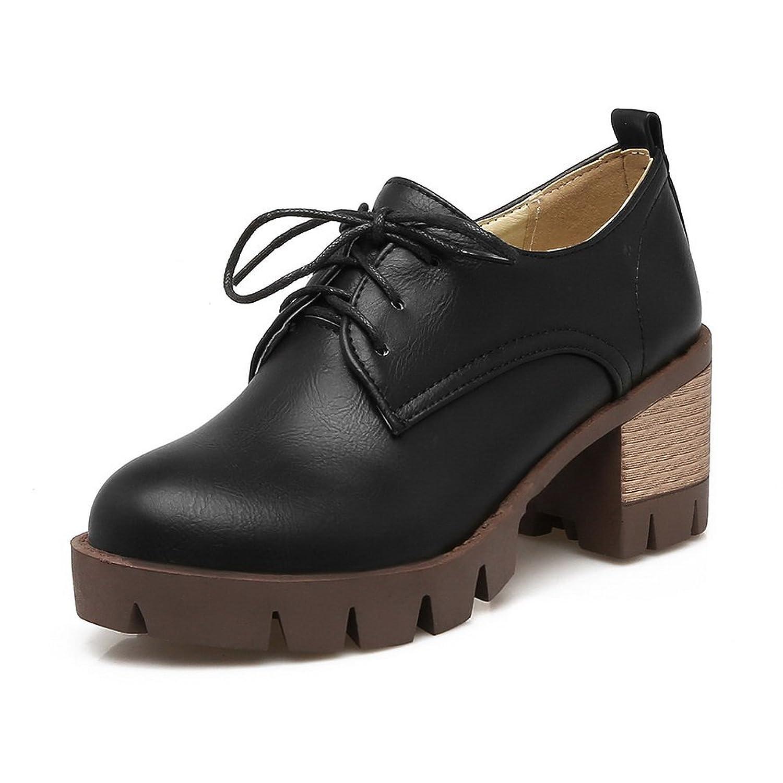 BalaMasa Womens Lace-Up Bandage Platform Chunky Heels Urethane Oxfords Shoes