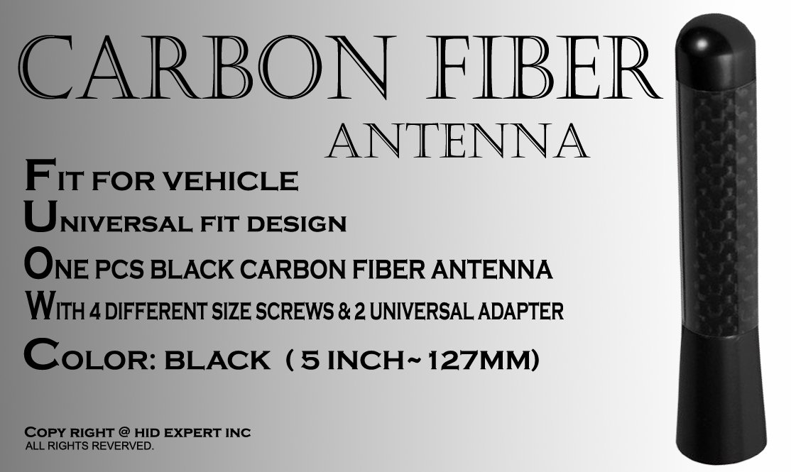 ICBEAMER 5 Color: Matte Black 127 mm Racing Style Universal Auto Antenna Fit Most Vehicle Carbon Fiber