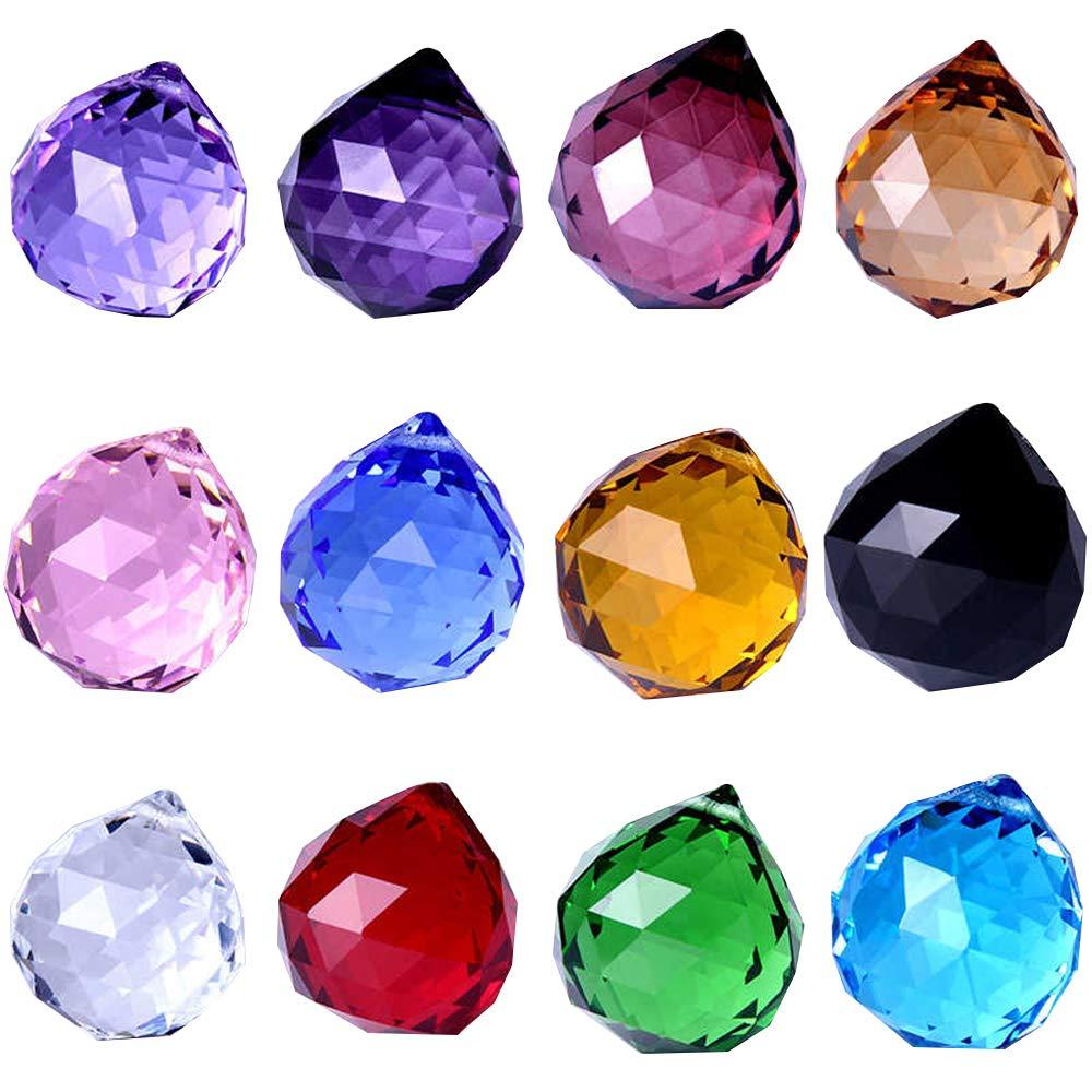 Wispun 30mm Vintage Feng Shui Faceted Decorating Crystal Ball Prism Pendant Suncatcher Multi-Color Hanging Pendant Suncatcher 12pcs