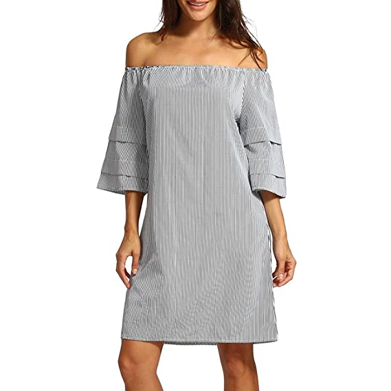 DOGZI Dos Mujer Verano 2018 Vestidos Mujer Casual Vestido Fiesta Mujer Vestido Estampado A Rayas Con