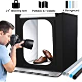 Portable Photo Studio, 24 * 24 * 24 inchs Large Foldable Photography Studio Portable Light Box Kit, Photo Shooting Tents with Four-color Backdrops and 2pcs 5500k 88pcs LED Strips (60 * 60 * 60cm)