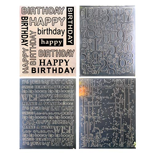 Happy Birthday Scrapbooking - Kwan Crafts 4 pcs Different Style Happy Birthday Numbers Ink Plastic Embossing Folders for Card Making Scrapbooking and Other Paper Crafts, 12.1x15.3cm