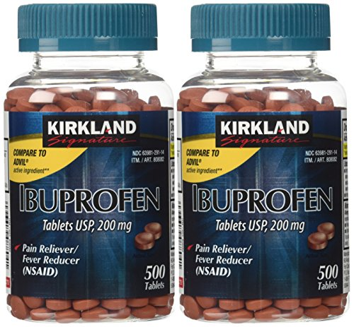 Kirkland Signature USP Ibuprofen, 2 Bottles 200 mg of 500 Tablets - Chew Tabs 500