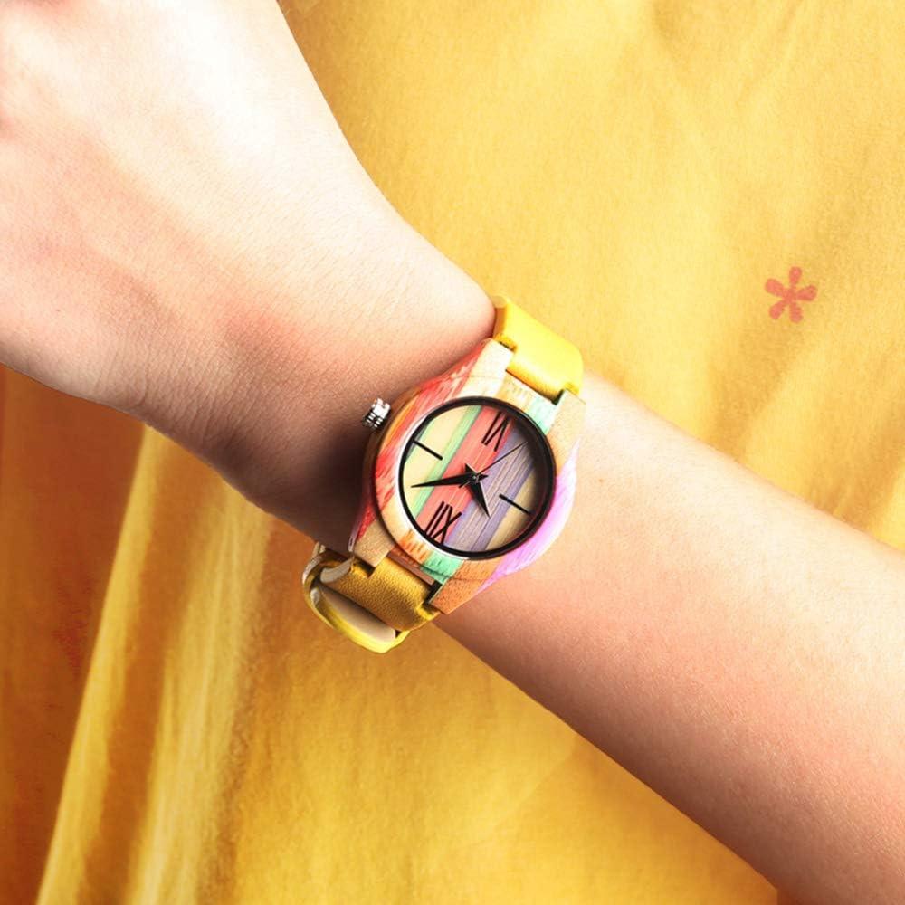 Liandd Orologio da Donna in Pelle di Color Giallo con Orologio in Legno colorato di Alta qualità per Donne Yellow