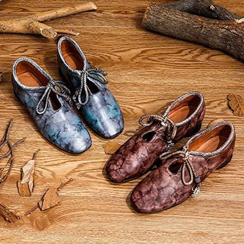 en 38 lacets Gris Mary Vintage à Eu Bowknot Gris Chaussures Taille cuir couleur Jane Zhrui wqOgIg
