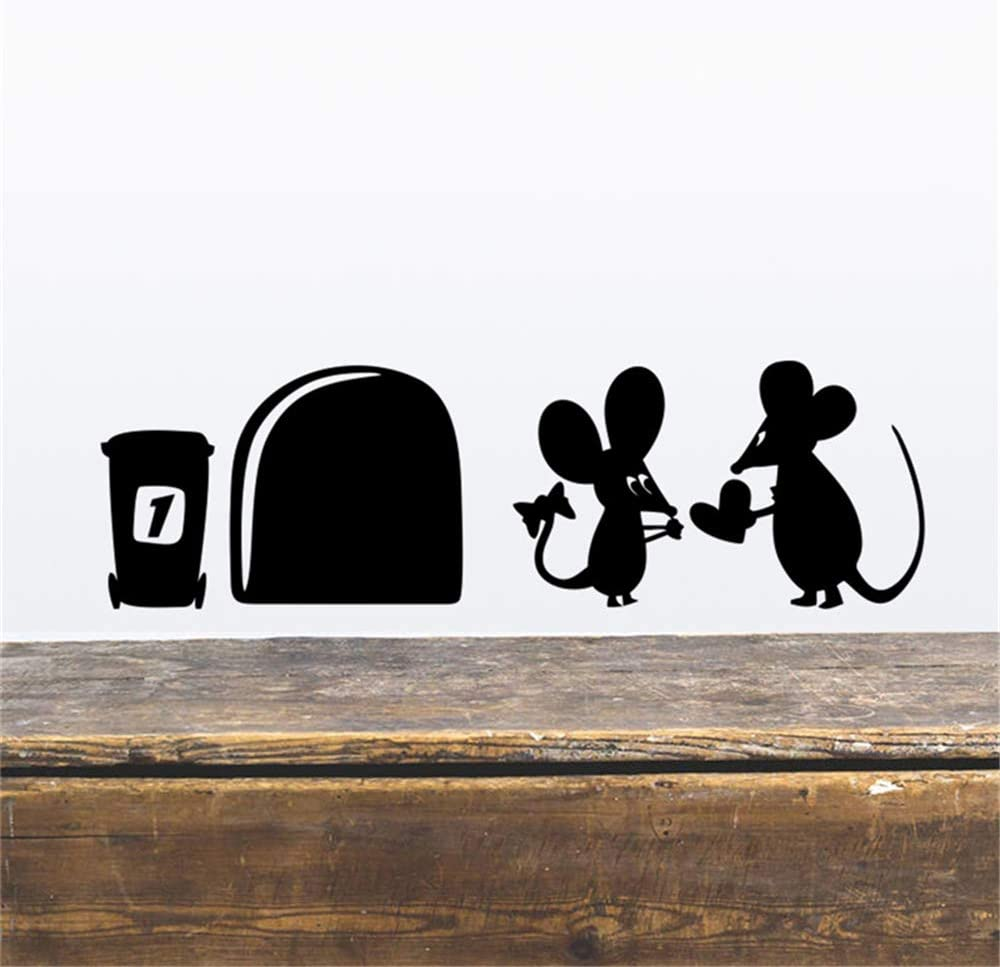 ufengke Trous de La Souris Plinthe Stickers Muraux Vinyle Amovible Autocollants Mural D/écoration Murale pour Chambre Enfant Salon Noir