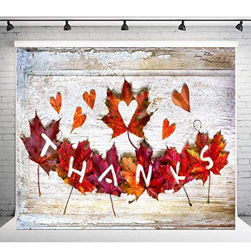 Thanksgiving Day Photography Background 7x5ft Vinyl Photo Backdrop Texture Wood Floor with Red Maple Tree Leaves Studio Background Cloth ()