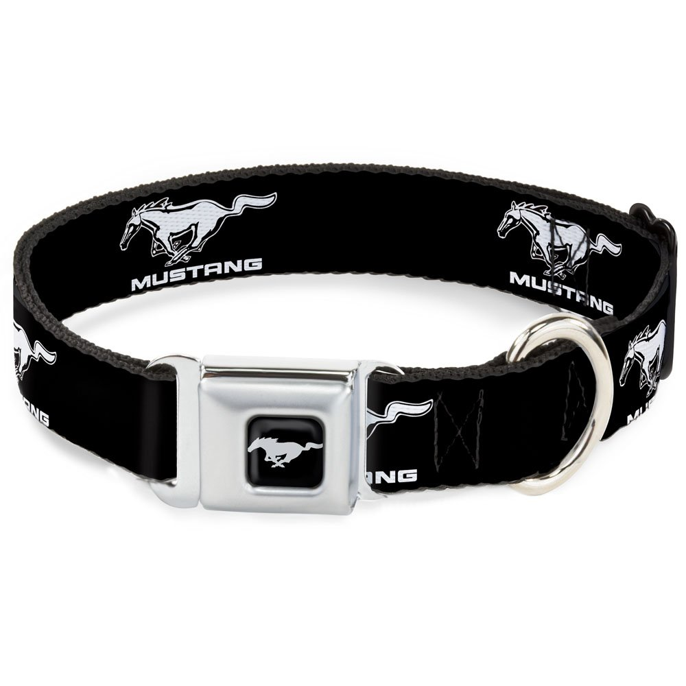 Ford Mustang Black White Logo Repeat 1.5\ Ford Mustang Black White Logo Repeat 1.5\ Buckle-Down DC-WFM001-WM Dog Collar Seatbelt Buckle, Ford Mustang Black White Logo Repeat, 1.5  by 16-23