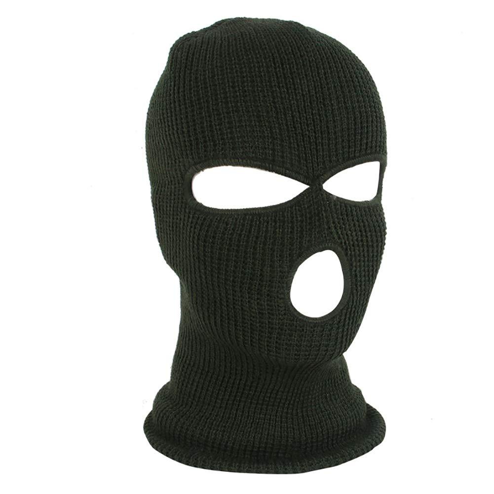 yanbirdfx Army Tactical Winter Warm Ski Cycling 3 Hole Balaclava Hood Cap Full Face Mask - Army Green