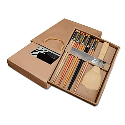 Cutlery 5 Pairs Bamboo Chopsticks Rice Scoop Japanese-style Tableware Gift Exquisite Pack Gift For Friend Home & Garden Kitchen,dining & Bar
