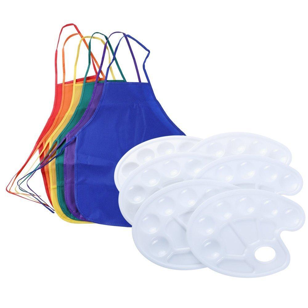 Sparklelife Kids Children Fabric Apron Smock 6 Color Painting Art Paint Tray Palette Kit 6 Pack 4336974735