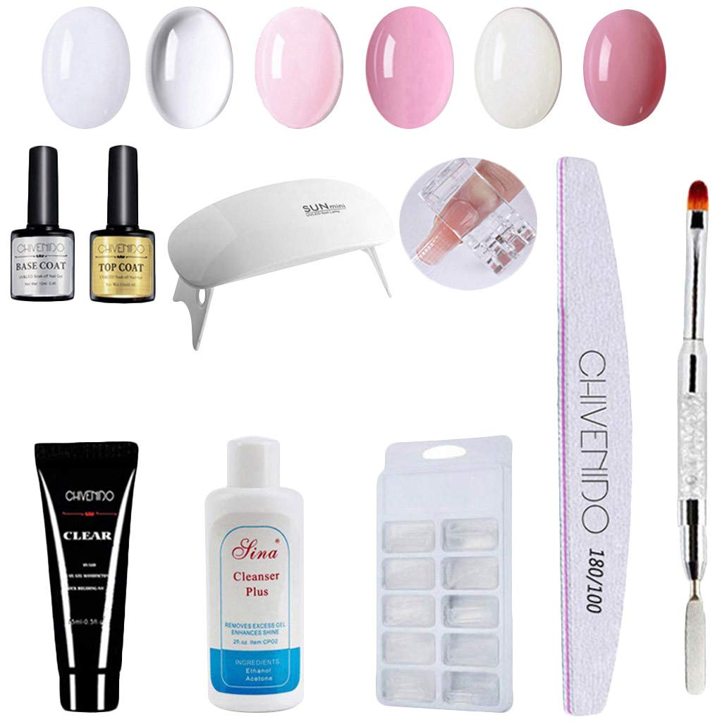 Gel Nail Polish Starter Kit with Portable Nail Dryer - 6 Color Nail Art Crystal Extension Gel Manicure Quick Dry Multicolor Extension Gel Manicure Sets,Top and Base Coat (Nail Art, White) by Dacawins