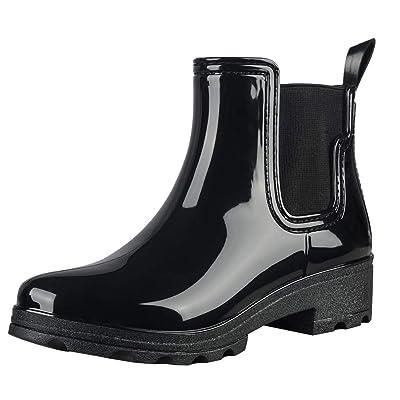 fazoc Rain Boots for Womens Girls Waterproof Non-Slip Rubber Ankle Rain Chelsea Booties | Rain Footwear