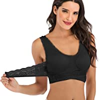 FLORATA Women Seamless Lace Sports Bras Cross Front Side Buckle Lounge Bra Yoga Sport Bra