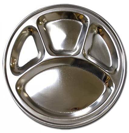 Stainless Steel Round Divided Dinner Plate 4 sections  sc 1 st  Amazon.com & Amazon.com | Stainless Steel Round Divided Dinner Plate 4 sections ...