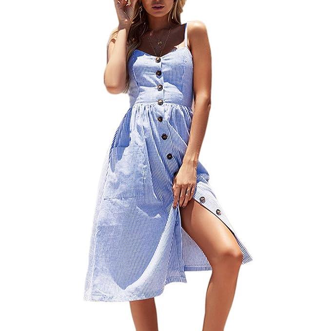Poplover Mujer Vestido con Rayas de Verano Midi Vestido Casual Sin Manga con Bolsillo Azul S